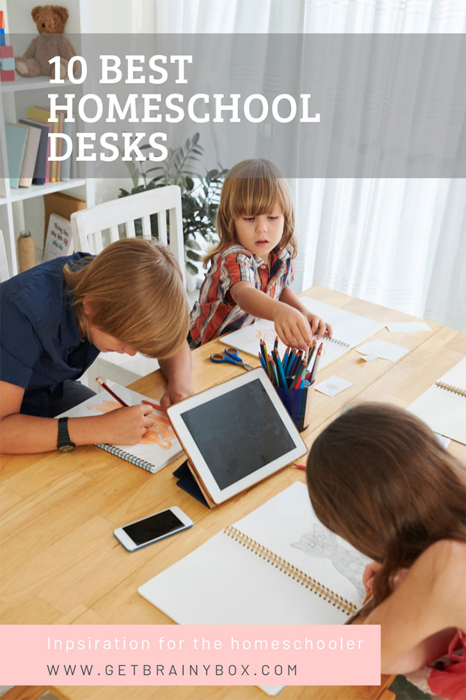 Three children drawing at a large homeschool desk, a pinterest friendly image.