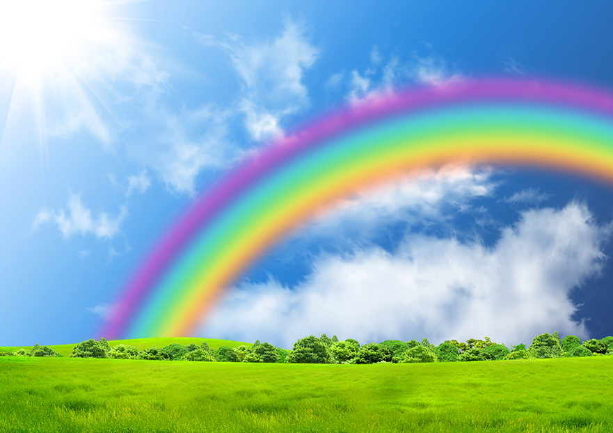 A bright rainbow over a sunny green meadow illustration.