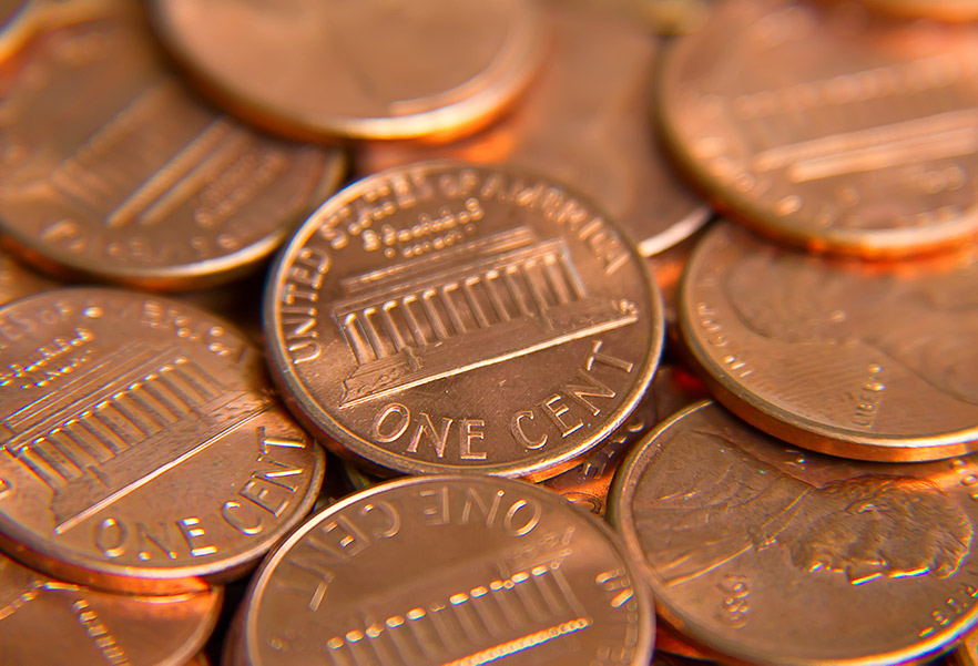 Pennies made shiny during a homeschool science experiment.