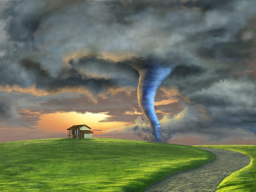 A tornado illustration next to a small house.